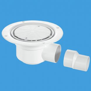 McAlpine TSG50WH Trapped Gully with Water seal, white plastic clamp ring and cover plate with screws